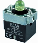 RB2-BVL73-12AC/DC...PILOT LIGHT BODY ASSEMBLY, 12AC/DC, INTEGRAL CIRCUIT & CLUSTER LED, GREEN COLOR