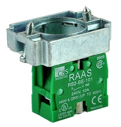 RB2-BZ101...CONTACT BLOCK SWITCH,NORMALLY OPEN,STANDARD TYPE,GREEN WITH COLLAR