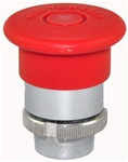 RM2-BT43...MUSHROOM HEAD METAL PUSH BUTTON, PUSH TO STAY - PULL TO RELEASE, 40MM, RED (Pre-Marked) COLOR
