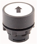 RP2-BA334...FLUSH PLASTIC PUSH BUTTON, SPRING RETURN, BLACK ARROW ON WHITE