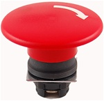 RP2-BS64...MUSHROOM HEAD PLASTIC PUSH BUTTON, TURN TO RELEASE TYPE, RED COLOR, 60MM KNOB SIZE